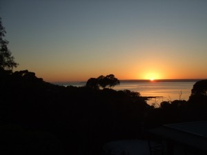 Sunrise from the balcony at Wanderers Rest, Kangaroo Island